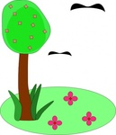 tree,bird,flower,cartoon