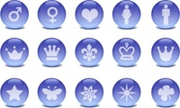 glass,icon,blue,rounded,round,crystal,ball,butterfly,button,circle,communication,crown,flower,heart,internet,online,silhouette,star,symbol,web 2.0,website