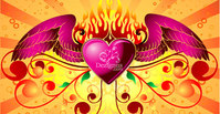 heart,wing,ornament,object,composition,light,winged,fire,flame,florar,curve,bubble