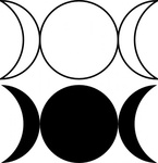 triple,goddess,symbol,waxing,crescent,full,moon,waning,outlined,filled,version