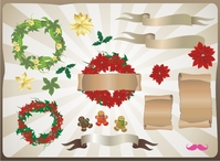 chistmas,set,vol,vol.1,christmas,decoration,gingerbread,man,moustache,pinky,scroll,wreath,banner,mistletoe,leaf,flower,icon,symbol
