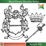 hand,drawn,heraldic,series,misc,shield,lion,horse,eagle,sword,dragon,crown,animal,dragon,crown,animals,dragon,crown,animals