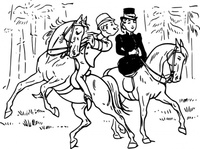 riding,couple,horse,rider,love,kiss,joke,black & white,contour,outline