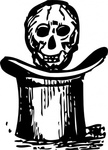 skull,over,media,clip art,externalsource,public domain,image,png,svg,top hat,magic,voodoo,loc