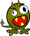 small,funny,angry,monster,clip art,remix,media,public domain,image,png,svg,cartoon,green,teeth,tail,feet,head