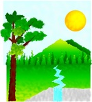 natural,landscape,plant,tree,river,waterfall,sun,sunny,colour,media,clip art,public domain,image,png,svg