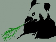 panda,bear,eating,bamboo,animal,mammal,nature,media,clip art,public domain,image,svg