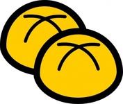 bakery,bun,editorial pick,food,baked good,roll,bread roll,minimalistic,simple,icon,yellow,contour