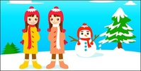 snowman,little,girl