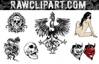 rawclips,skull,nude,lady,bird,ace,spade,devil,satan,clipart