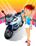 motorcycle,girl,big,bike,motor,show,room,showroom,sale,podium