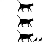 icon,cat,kitty,small,animal,pregnant,silhouette,tail,ear,black & white