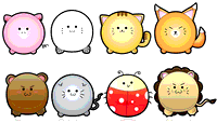 cute,puffy,animal,pig,ladybug,lion