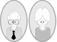 grandpa,grandma,people,senior,man,woman,glasses,portrait,grayscale