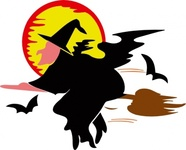 lakeside,witch,over,harvest,moon,halloween,animal,woman,bat,fly,broom,orange,black,broomstick,brown,night,hat,flying