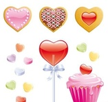 cooky,candy,heart,lollipop,valentine,cupcake