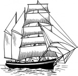 barquentine,maritime,sailing,ship,sailship,drawing,line art,black and white,contour,coloring book,outline