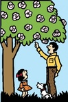 father,daughter,under,tree,man,girl,flower,scene,dog,media,clip art,externalsource,public domain,image,svg