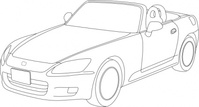honda,outline,car,transportation,line art,convertible,black and white