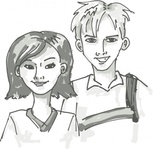 student,standing,cartoon,people,young,boy,girl,couple,grayscale