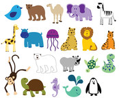 animal,bear,bird,camel,cartoon,childish,child,colorful,cute,elephant,forest,funny,giraffe,hippo,jellyfish,jungle,kid,leopard,lion,little,mammal,monkey,penguin,polar bear,rhino,sea,sea creature,se