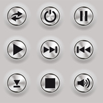 metal,control,button,web button,shiny button,play button,pause button,power button,rewind,fast forward