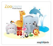 animal,kawaii,zoo,lion,giraffe,zebra,elephant,dolphin,hippo