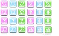 glass,effect,button,blue,pink,green,home,search,basket,arrow