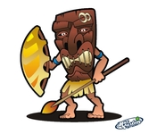 cartoon,tiki,native,warrior