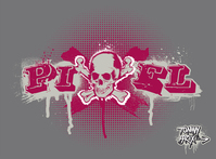 tommy brix,pixel,skull,splatter,drip,raster,grey,purple,ruff,color