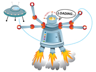 robot,loading,ufo,take off,spaceship
