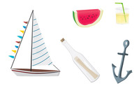 summer,stuff,object,rum,lemonade,ship,sailboat,yacht,anchor,watermelon,fruit,drink,bottle