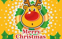 reindeer,horn,red-nose,big-nose,deer,rudolph,christmas,mistletoe,leaf,character,cartoon,illustration,delightful,cute,flower,cuddly