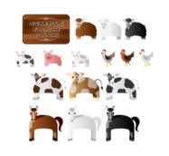 farm animal,cow,sheep,horse,chicken,pig