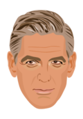 clooney,actor,famous,vectorized,charicature