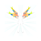 wing,angel,color,colorful,stylised,abstract,figure,male,silhouette
