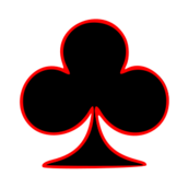 club,symbol,outlined,playing,card,red,black