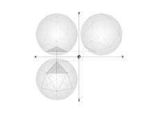 geometry,parallel projection,constrution,geodesic sphere,circumscribed sphere,net