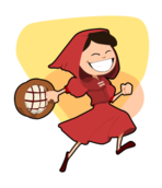 fairy tale,red,hood,basket,girl,jump,skip,skirt