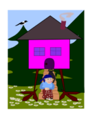 baba yaga,witch,chicken house