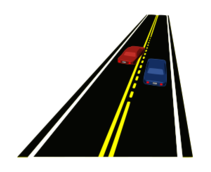 road,street,roadway,highway,transportation,double yellow line,passing,passing zone,dashed yellow line,perspective,car,auto,automobile,vehicle,car passing,passing car,slow car,fast car,traffic