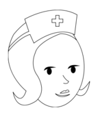 nurse,line art,outline,black and white,coloring page