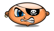 emoticon,pirate,snarling,angry,patch,head,anime-style,glass-style