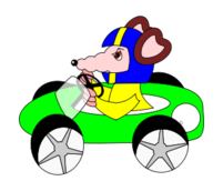 rat,racing car,cartoon