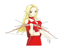 media,clip art,public domain,image,png,svg,anime,fantasy,elf,elven,archer,cartoon,colour,red,girl,woman
