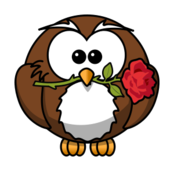 owl,cartoon,bird,funny,animal,rose,flower,gift,event,womens day,valentines day
