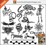 ant,cupid,halftone,hammer,skeleton,snake,star,tiger,design elments,human skul