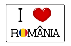 romania heart love label