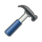 remix,hammer,stylized,tool,work,construction,glossy,metallic,contour,icon,colour,blue