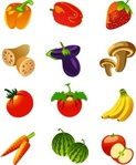 fruit,nutrition,vegetable,flower,icon,movement,banana,tomato,strawberry,melon,watermelon,bell,pepper,eggplant